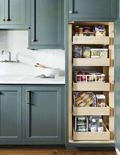 Kitchen Pantry Design, New Kitchen Cabinets, Built In Cabinets, Custom Cabinets, Kitchen Storage, Kitchen Decor, Kitchen Ideas, Kitchen Colors, Kitchen Sink