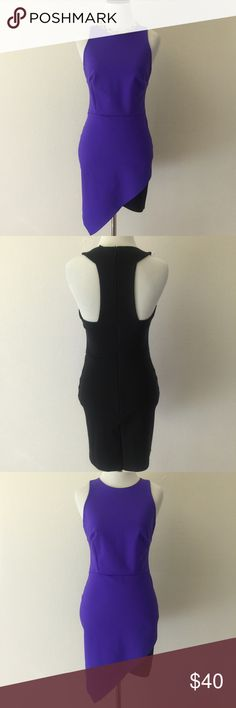 Bebe Bodycon Sleeveless Dress Bebe Bodycon Sleeveless Dress. Purple Front. Black back. Back Zipper. Perfect for a night out.  Club / Party Dress. bebe Dresses