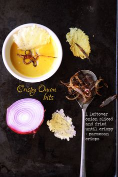 Glam up the soup with Crispy Onion Parmesan Crisps, Crispy Onions, Panna Cotta, Fries, Clever, Soup, Dishes, Cooking, Ethnic Recipes