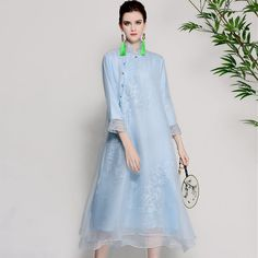 Cheap Cheongsams, Buy Directly from China Suppliers:Women beautiful dresses summer vintage royal embroidery floral elegant lady white/red/blue organza silk party dress M-XXL