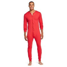 Men's Authentic Cotton Wool Thermal Union Suit Red - Coldpruf