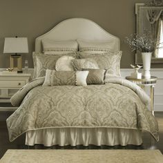 Coppelia Bedroom Collection, California King Comforter Set (Taupe & Cream)- so elegant