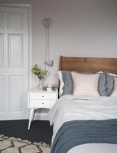Soft blush pink bedroom reveal BEFORE + AFTER - Farrow & Ball Peignoir - West Elm mid-century furniture Blush Pink Bedroom, Pink Bedroom Decor, Pink Bedrooms, Bedroom Ideas, Bedroom Inspiration, Bedroom Inspo, Blush Walls, Attic Bedrooms, Interior Inspiration