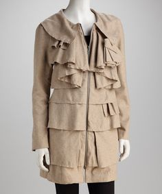 Take a look at this Beige Waterfall Ruffle Wool-Blend Coat by Ryu on #zulily today! Only 44.99 size S
