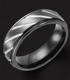 C-2995BT - 7MM Triton Black Titanium Ring, Diagonal Grooves, Comfort Fit
