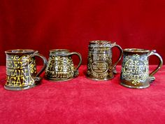 78) Good  collection of glazed pottery Motto tankards Est. £25-£30