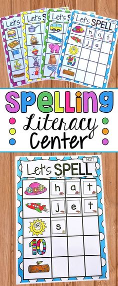 Spelling Literacy Center. Let's Spell is a spelling activity which allows students to practice their spelling and sounding out skills. This pack is a great little addition to literacy centers, daily five etc. Students build on their early phonetic skills to work out the spelling of CVC, CCVC and CVCC words. Each letter tile has a picture which aids students in finding the correct letters for each word. This pack includes 19 different mats. 11 mats are CVC and 8 mats are CCVC/CVCC.