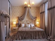 Luxury And Elegant Bedroom Designs Inspiration : Luxury Romantic Bedroom Design Inspiration with FourPoster Floral Bed and Impressive Canopy Bed also Fancy Chandelier and White Bedroom Curtain Romantic Bedroom Design, Feminine Bedroom, Master Bedroom Design, Modern Bedroom, Bedroom Decor, Bedroom Ideas, Bedroom Designs, Romantic Room, Romantic Bedrooms