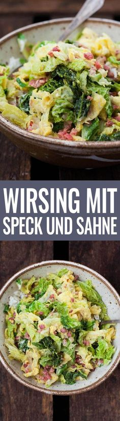 Wirsing mit Speck und Sahne Long Pin Savoy cabbage with bacon and cream long pin Savoy Cabbage, Cabbage And Bacon, Low Carb Recipes, Soup Recipes, Healthy Recipes, Bread Recipes, Cena Paleo, Paleo Dinner, Vegetable Dishes
