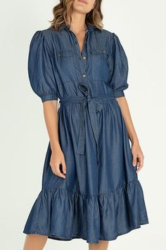SPIRITO | Vestido camisero en tencel | Tienda Online Shirt Dress, Denim, Casual, Shirts, Dresses, Fashion, Jean Dresses, Shirtdress, Pockets
