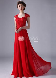red lace a-line chiffon evening dress with v-neck and sheer jacket ...