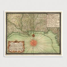 Old Gulf Coast Map Art Print 1747 Antique Map by BlueMonoclePrints