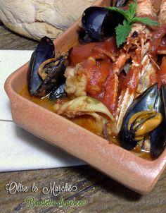 Brodetto di pesce dell'adriatico, cena a base di pesce, cucina di pesce, cucinare il pesce, pesce al pomodoro,