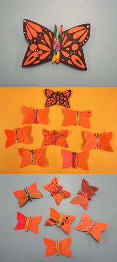 Papallones Material: pinces de fusta, cartolina, tisores, cola, colors Nivell: Acolliment (INF/CI) 2013/14