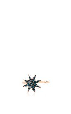 Venus Star Blue Diamond Open Ring by Bee Goddess   Moda Operandi