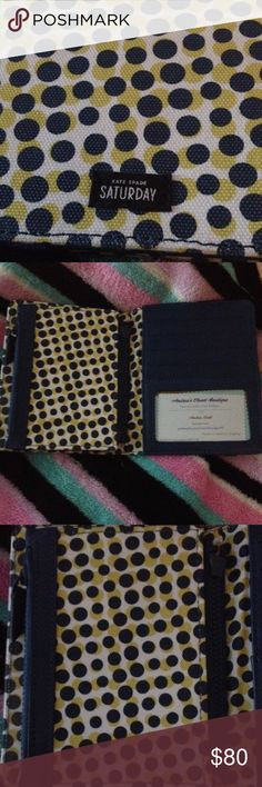 Kate Spade Note Wallet Kate Spade Saturday Wallet/ Note Keeper. Holds tons of cards and keeps a all of your receipts and notes in place. Has a removable pouch by zipper. Flips close easily with an elastic strap. Ask questions before you buy. kate spade Bags Wallets