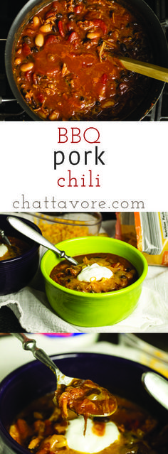 With the flavors of BBQ and chili in one bowl, this BBQ pork chili is a great game-day meal or a quick weeknight meal! | recipe from Chattavore.com