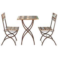 270 euro Tavolo + 2 sedie da giardino in legno riciclato e metallo effetto anticato L 60 cm