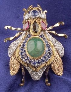 18kt Tricolor Gold and Gem-set Insect Brooch, Cazzaniga, Rome | Sale Number 2311, Lot Number 213 | Skinner Auctioneers