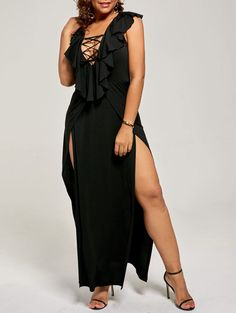 Lace Up High Slit Flounce Dress In Black,3xl | Twinkledeals.com