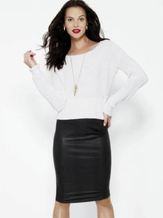 Week of Wonderful: Office outfit idea - snake embossed pencil skirt with cropped sweater by Bar III