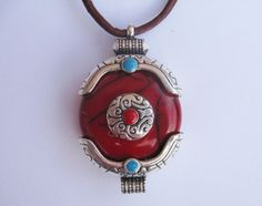Leather Pendant Necklace, Large Red Tibetan Pendant and Brown Leather Necklace, Ethnic Jewellery by Wireandcolour on Etsy