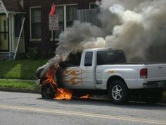 Haha! This is the punishment you get for putting lame flame decals on your truck.