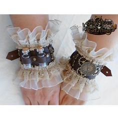 Pretty! Steampunk Dorothy Leather Cuff Bracelets - Sky Pirate Creations Please…