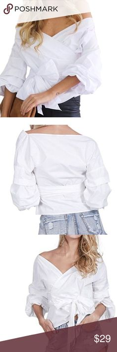 "V neck lantern white sleeve shirt Aoyeen V neck lantern sleeve shirt Long Sleeves Off-shoulder shirts with a zipper on the side and a tie up belt Size Chart:  S ---Fit Bust:92cm/36.2""---Length: 60cm/23.6""---Sleeve: 57cm/22.4"" ---Shoulder:43cm/16.9"" 65% Cotton 35% Polyester Passion of Essense Tops Blouses"
