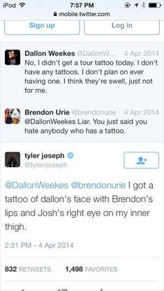 josh dun tweet | tyler joseph on twitter | Tumblr