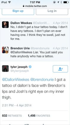 josh dun tweet | tyler joseph on twitter | Tumblr