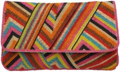 Dune Lissy Multi Stripe Beaded Clutch Bag in Multicolor (multi-coloured) - Lyst
