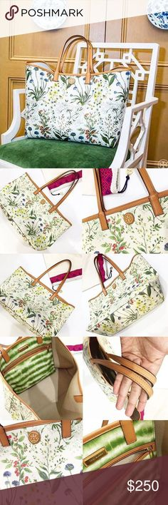 Tory Burch Kerrington Floral Print Tote 🌿 Very popular and SOLD OUT. In excellent condition! No tares or stains. Saffiano leather with tan linen interior. Tory Burch Bags Totes