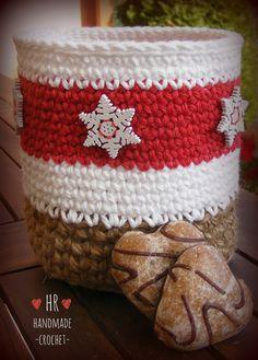Crotchet Patterns, Crochet Basket Pattern, Unique Crochet, Fabric Yarn, Tatting, Coffee Cups, Knit Crochet, Christmas Decorations, Homemade