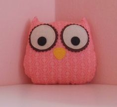 coral owl fabric soft toy