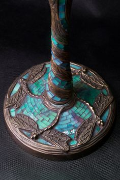 Tiffany Dragonfly stained glass lamp. Mosaic by WPworkshop on Etsy