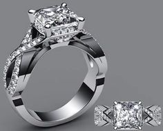 .75ct I color VS2 Clarity Princess Cut Diamond Ring Set in 14k White Gold with .30cttw Diamonds.