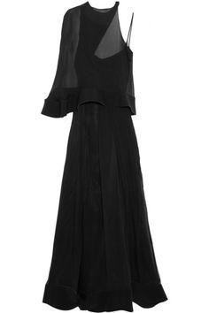 ESTEBAN CORTAZAR Neoprene-Trimmed Silk-Chiffon Gown. #estebancortazar #cloth #dresses