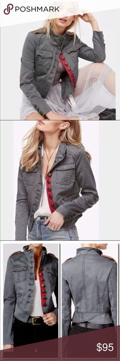 """Free People Military Jacket Edgy and cool -Lending embellished details, engraved button up placate, high collar, and multi pocket styling, this jacket has the right to remain awesome.   Shrunken officer jacket Embellished details Button up placate High collar accent Dual faux hand pockets Dual chest pockets with flap button closures Grey 98% cotton / 2% spandex, Lining: 90% polyester / 10% cotton Machine wash cold, tumble dry low Measures approximately 21"""" from shoulder Model shown wearing…"""