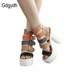 48e422c76126b Gdgydh Women Sandals High Heels 2018 New Summer Fashion Buckle Female  Gladiator Sandals Platform Shoes Woman