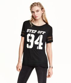 Jersey Top | H&M US  Step Off 94 Black Varisty Chiffon Tee