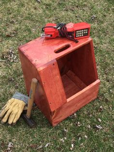 Items similar to Telephone Man Splicer Seat Wood Tool Box Finger Joint Buttbox Gardening Lawn Bell on Etsy Woodworking With Resin, Woodworking Tool Kit, Woodworking Patterns, Woodworking Videos, Teds Woodworking, Woodworking Projects, Wood Tool Box, Wood Tools, Military Shadow Box