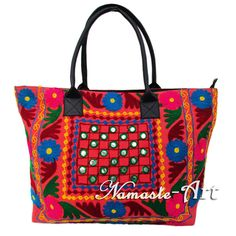 Indian Cotton Tote Shoulder Embroidery Suzani Handbag Woman Beach Boho Bag  jk33 #Unbranded #TotesShoppers