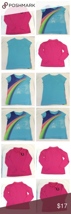 """TWO (2) CUTE TOPS """"GIRLS"""" 14/XL TWO (2) CUTE TOPS """"GIRLS"""" 14 XL, pink long sleeves w black sequins on chest & black exposed seams, blue short sleeve rainbow design top, machine washable, 100% cotton. ADD TO A BUNDLE! 20% BUNDLE DISCOUNT Shirts & Tops"""