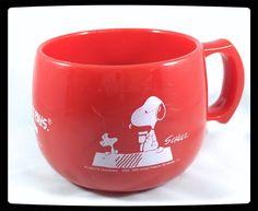 VTG ✦ SNOOPY MUG ✦ METLIFE N.Y. ✦ HARD PLASTIC RED CUP ✦ VERY RARE ✦ KAWAII
