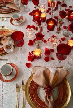 Valentine's Day Table with Mikasa Parchment Rouge | Home is Where the Boat Is