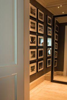 Decor com fotos. Hall. Fotografia. Quadros. Composição. Photo. Decor apartamento Lala Rudge