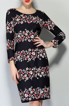 Black Long Sleeve Floral Bodycon Dress