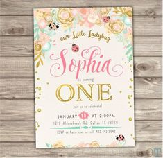 Ladybug Gold Mint and Coral Dear Birthday Invitations Printable Invitations Floral mint gold pink Party Rustic woodland First birthday NV606 by cardmint on Etsy https://www.etsy.com/listing/251734235/ladybug-gold-mint-and-coral-dear