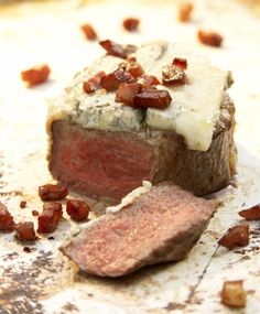 Grilled Filet Mignon with Gorgonzola, Pancetta, and Peach-balsamic Jam